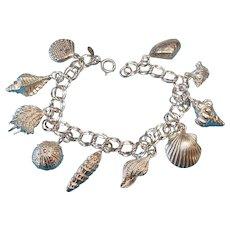 Vintage Sterling Seashell Theme Charm Bracelet