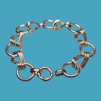 Vintage Sterling Modernist Large Link Charm Bracelet Hallmarked B.B