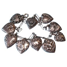 Vintage 1940s Sterling Silver Puffy Heart Charm Bracelet