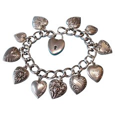 Vintage Sterling Silver Puffy Heart Charm Bracelet with Puffy Heart Padlock No Key Required