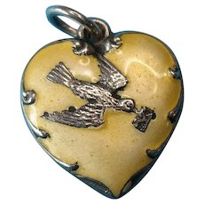 Rare Vintage Sterling Silver Yellow Enamel Messenger Bird Puffy Heart Charm