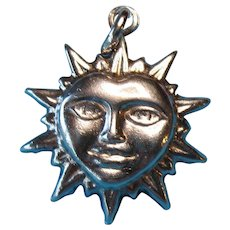 Vintage Sterling Puffy Smiling Heart Face Sun Pendant Charm