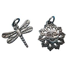 Vintage Sterling James Avery Sun Face & Dragonfly Charms