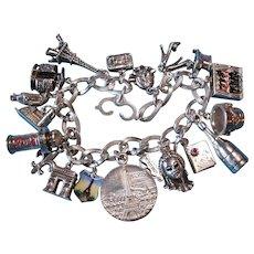 Vintage Silver French Theme Charm Bracelet