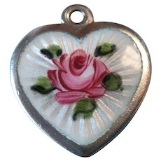 Vintage Sterling Guilloche Rose Heart Charm