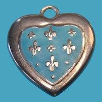 Victorian Rare French Sterling Fleur de Lis Turquoise Enamel Puffy Heart Charm