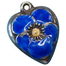 Vintage c1940s Blue Pansy Puffy Heart Charm