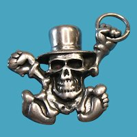 Vintage Sterling Dancing Skull with Top Hat Necklace Pendant Charm