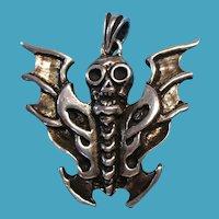 Vintage Sterling Flying Bat Skull Necklace Pendant Charm
