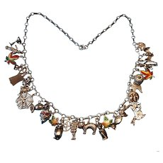 Vintage Sterling Halloween Theme Charm Necklace