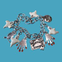 Vintage Sterling Ouijia Board Game Theme Charm Bracelet with Metal Enamel Ghosts