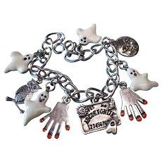 Vintage Sterling Ouijia Board Game Theme Charm Bracelet with Metal Enamel Ghosts
