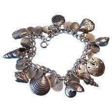 Vintage Sterling & Mother of Pearl Sea Shell Charm Bracelet