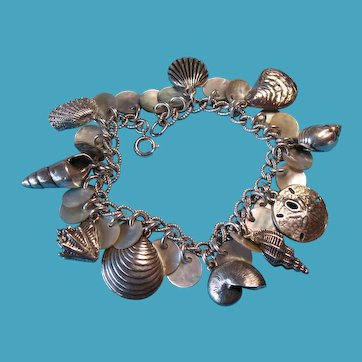Vintage Sterling & Mother of Pearl Sea Shell Charm Bracelet