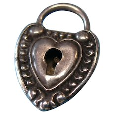 Victorian Sterling Silver Heart Repousse Padlock Charm – Inscribed