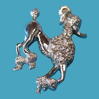 Vintage Sterling Silver French Poodle Show Dog Pendant Charm