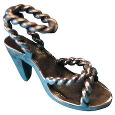 Vintage Sterling Silver Rope High Heel Sandal Charm Pendant