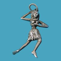 Vintage Sterling Silver Hula Dancer Charm - Moves
