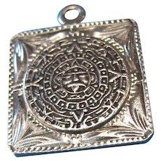 Vintage Sterling Aztec Calendar Charm by Plafina