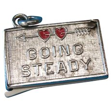 Vintage Wells Sterling Silver Enamel Going Steady Charm Opens