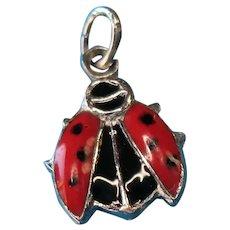 Vintage Sterling Silver Enameled Ladybug Charm
