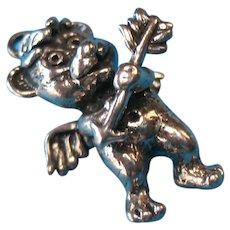 Vintage Sterling Silver Bear Cupid Bracelet Charm
