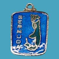 Vintage Sterling Silver Blue Enameled Bermuda Charm