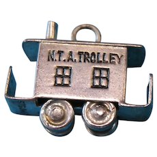 Vintage Sterling JMF Articulated NTA TrainTrolley Caboose Charm 1940s