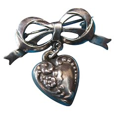 Victorian Sterling Silver Bow Brooch & Heart Charm