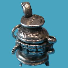 Vintage Sterling Silver Potbelly Stove with Opening Door - RARE