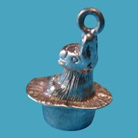 Vintage Sterling Silver CHIM Bunny in A Hat Charm