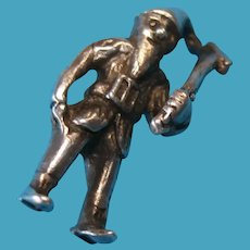 Vintage Sterling Silver Charm of a Pixie Elf with Ax