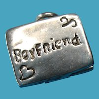 Vintage Sterling Boy Friend Photo Locket Necklace Pendant Charm