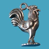 Vintage Sterling Rooster Bracelet Charm 1940s