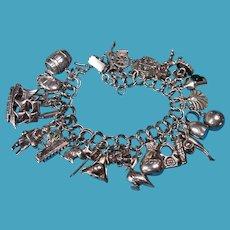 Vintage Sterling Silver Pirate Theme Charm Bracelet #3