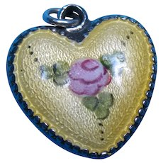 Vintage Sterling Yellow Guilloche and Pink Rose Puffy Heart Charm