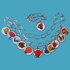 Enamel Flower Charm Necklace & Bracelet Set Metal & Sterling Flower Clasp on Bracelet