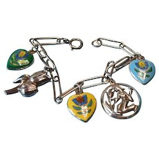 Vintage Sterling Tulip Heart & Flower Theme Charm Bracelet