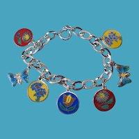 Vintage Sterling Silver Enamel Flower Charm Bracelet