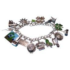 Vintage Sterling Green Fern Garden Charm Bracelet
