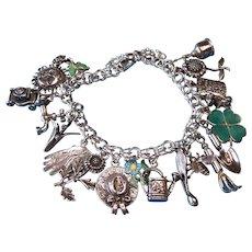 Vintage Sterling Silver Garden Theme Charm Bracelet