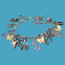 Vintage Sterling Silver Enamel Flowers and Butterflies Garden Charm Bracelet