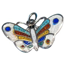 Vintage Sterling Silver Enamel Butterfly Charm Pendant
