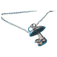 Vintage Sterling Mushroom Toad Stool Necklace Pendant Charm
