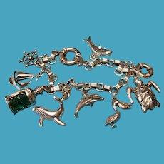 Vintage Sterling Silver Nautical Charm Bracelet