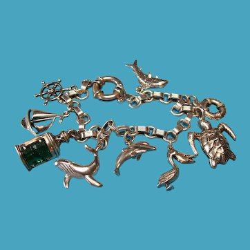 Vintage Sterling Silver Nautical Charm Bracelet