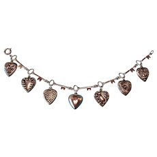 Vintage Sterling Silver Puffy Heart Charms with a Key Link Bracelet 1940s