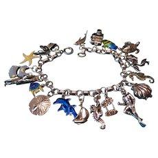 Vintage Sterling Silver Tropical Theme Charm Bracelet