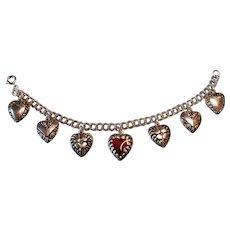 Vintage Enameled Puffy Heart Charm Bracelet 1940s