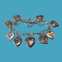 Vintage Sterling Hand Forged Toggle Bracelet with Puffy Heart Charms